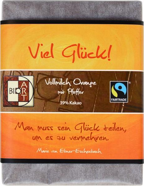 """BioArt Motto Schoko """"Viel Glück"""" Vollmilch Orange Pfeffer 70g"""