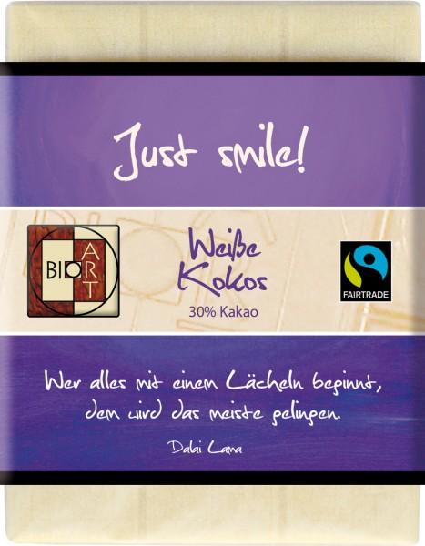 """BioArt Motto Schoko """"Just smile"""" Weiße Kokos 70g"""