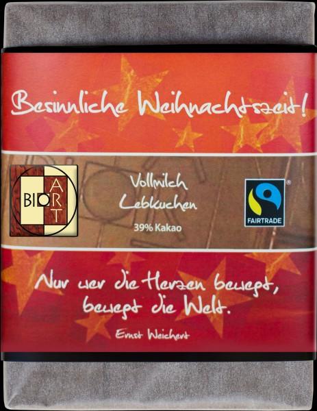 """BioArt Motto Schoko """"Besinnliche Weihnachtszeit"""" Vollmilch Lebkuchen 70g"""