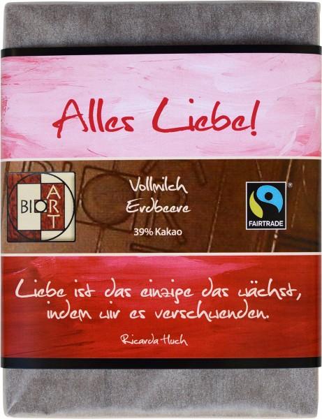 "BioArt Motto Schoko ""Alles Liebe"" Vollmilch Erdbeer 70g"