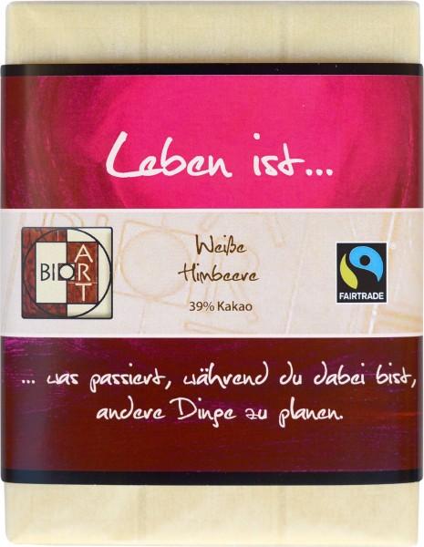 "BioArt Motto Schoko ""Leben ist..."" Weiße Himbeere 70g"