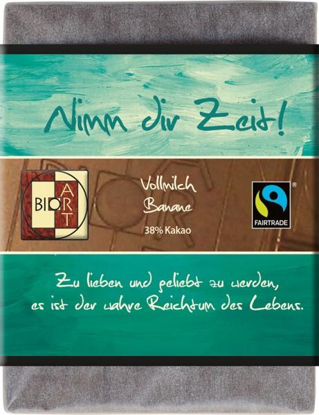 """BioArt Motto Schoko """"Nimm dir Zeit"""" Vollmilch Banane 70g"""