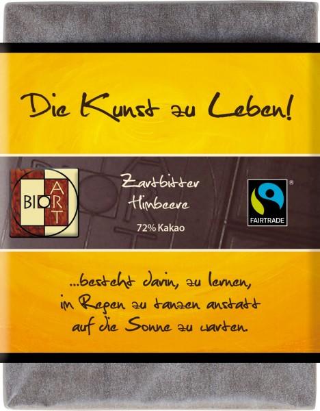 "BioArt Motto Schoko ""Die Kunst zu Leben"" Zartbitter Himbeere 70g"