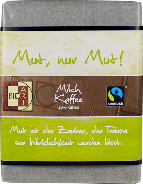 "BioArt Motto Schoko ""Mut, nur Mut!"" Milch Kaffee 70g"