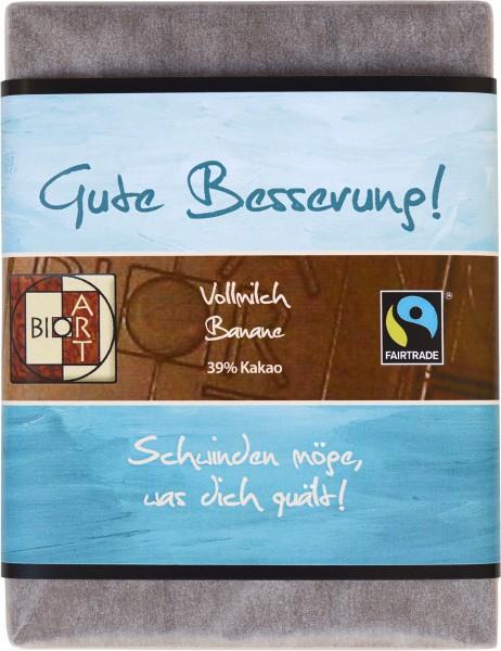 """BioArt Motto Schoko """"Gute Besserung"""" Vollmilch Banane 70g"""