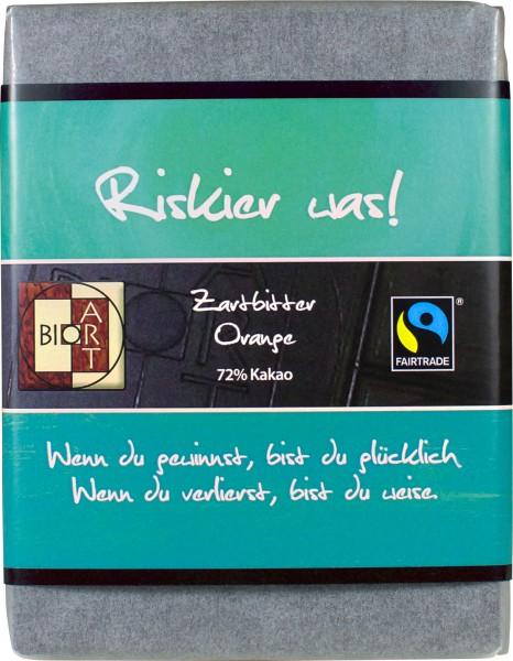 """BioArt Motto Schoko """"Riskier was"""" Zartbitter Orange 70g"""